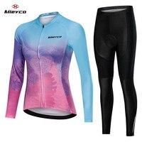 Mulheres camisa de ciclismo manga longa bicicleta roupas femininas mtb topos ropa maillot equitação camisas secagem rápida bib almofada gel curto|Kits ciclismo| |  -