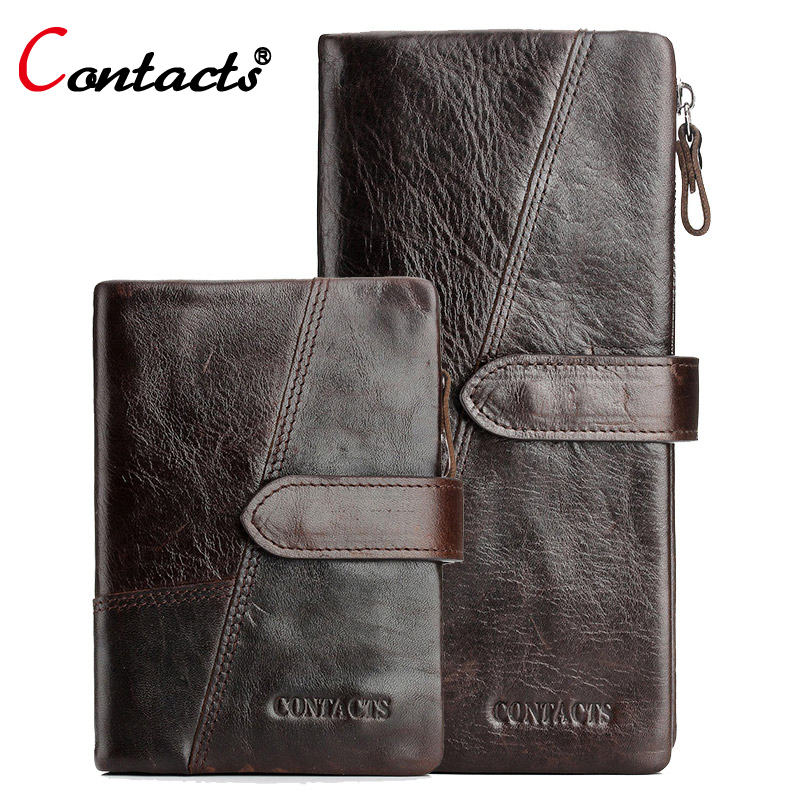 CONTACT'S Genuine Leather Wallet Men Coin Purse Male Clutch Credit Card Holder Coin Purse Walet Money Bag Organizer Wallet Long joyir vintage men genuine leather wallet short small wallet male slim purse mini wallet coin purse money credit card holder 523
