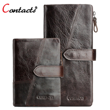 CONTACT'S Genuine Leather Wallet Men Coin Purse Male Clutch Credit Card Holder Coin Purse Walet Money Bag Organizer Wallet Long