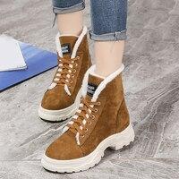 Karinluna New thick bottom shoelaces shoes women ankle boots shoes woman shoes winter warm plush snow boots women sneakers shoes