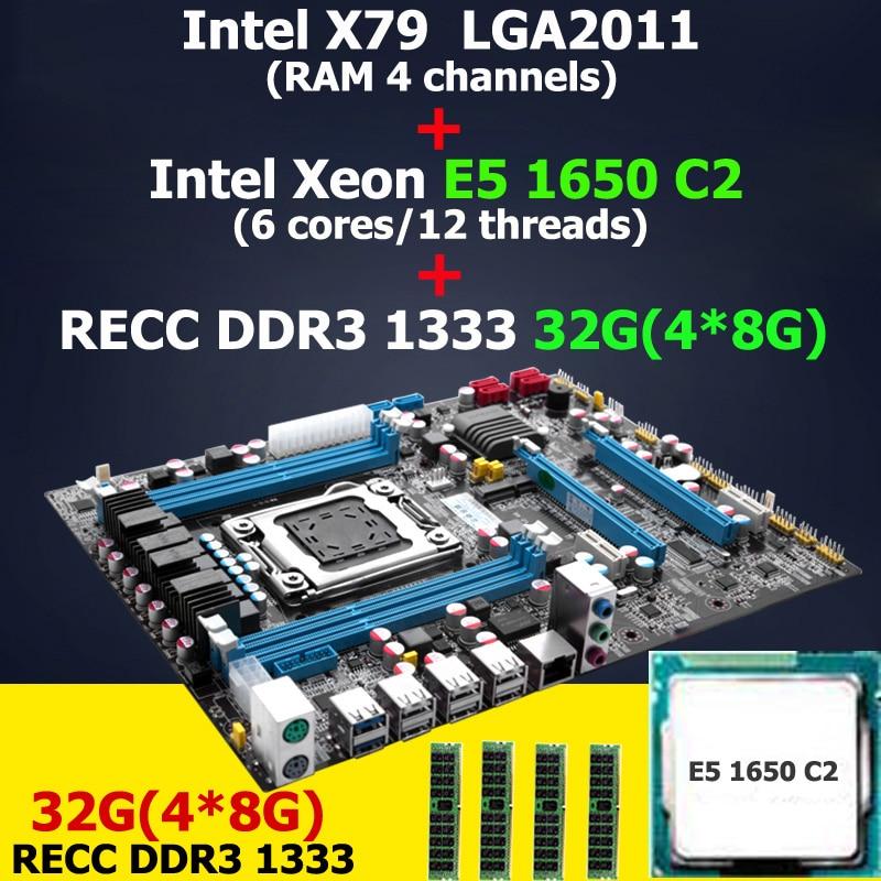 HUANAN X79 LGA 2011 motherboard CPU RAM combos Intel Xeon E5 1650 C2 CPU RAM 32G(4*8G) DDR3 REG ECC X79 ATX motherboard high end intel x79 lga 2011 motherboard micro atx lga2011 desktop mainboard usb3 0 ddr3 1333 1600 quad channel max 32g