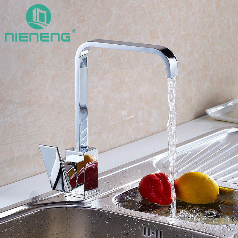 Nieneng Solid Brass Kitchen Mixer Cold and Hot Kitchen Tap Single Hole Water Tap Kitchen Faucet Torneira Cozinha ICD60410 jomoo brass kitchen faucet sink mixertap cold and hot water kitchen tap single hole water mixer torneira cozinha grifo cocina