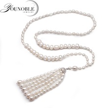 720mm Genuine Freshwater long pearl necklace women,trendy white natural birthday gift
