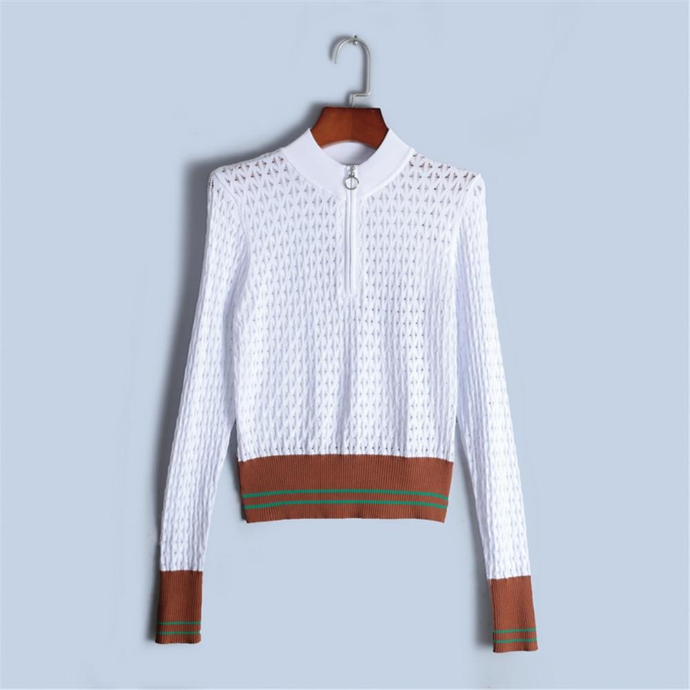 Tunjuefs Design Hollow Out Sweater Women Pullover Long Sleeve 2018 New Autumn Jumper Knit Tops Zip Striped Sweater High Quality