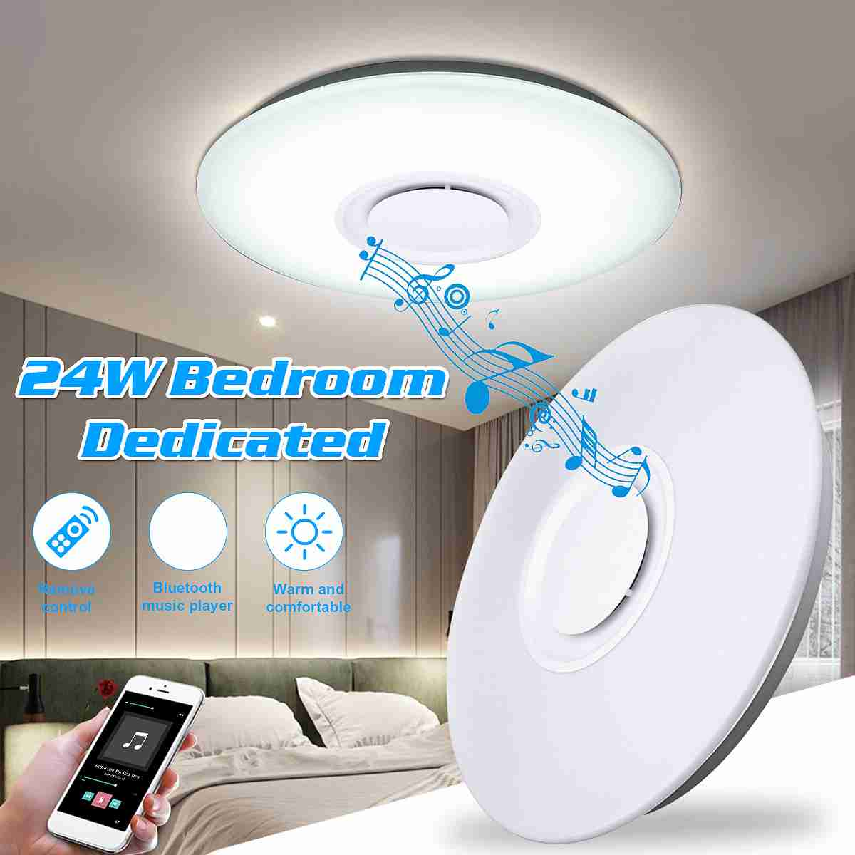 Smuxi Modern 220V LED Ceiling Light RGB Dimmable 24W APP Control Bluetooth Living Room Bedroom Music Ceiling Lamp цена