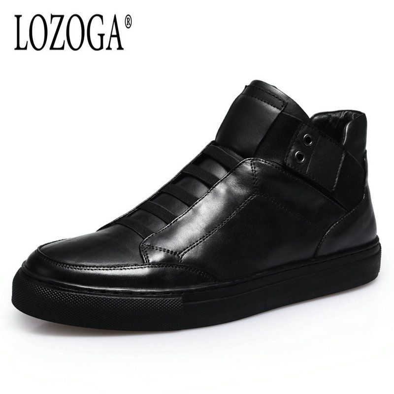Lozoga Handmade Genuine Leather Shoes Luxury Boots Black Men Large Size Casual British Autumn Winter Shoes High Quality Boots 2017 spring autumn breathable white wild men casual shoes 100% handmade pigskin leather comfort men shoes high quality size40 44