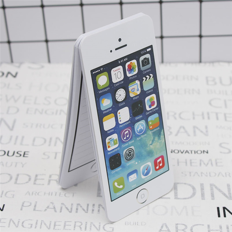 1 Pcs Creative White Fashion Sticky Note Paper Cell Phone Shaped Memo Pad Memo Pads Paper Note Pad Diy For Iphone 5 цена и фото