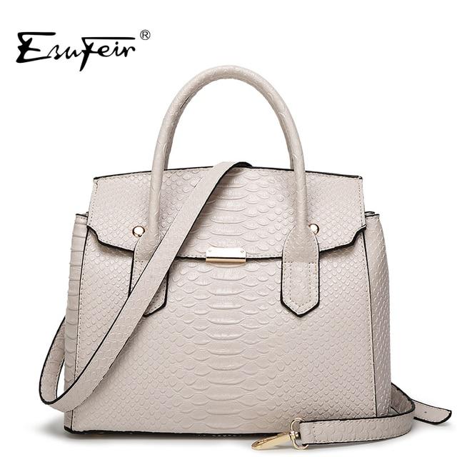 ESUFEIR 2016 Luxury Serpentine Women Handbag Famous Brand Designer Leather Women Bag Shoulder Bag Casual Tote bolsas sac a main