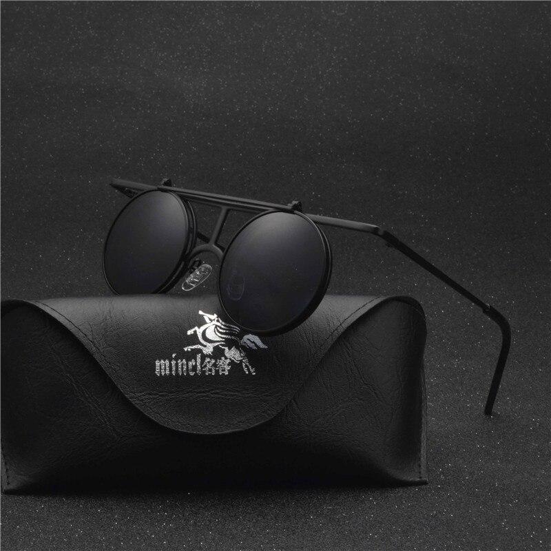 MINCL/ Small Round punk Sunglasses Men Women Flip Up lens Punk Sun Glasses for Male Vintage Goggles NX 3