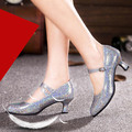 Mujeres fashion square zapatos de baile Latino zapatos de suela de goma suave 5.5 cm talón