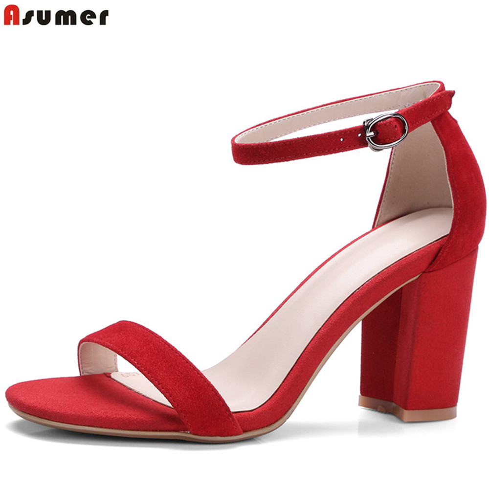 ASUMER black red blue fashion summer ladies shoes square heel buckle elegant wedding shoes woman kid suede high heels sandals bigtree summer fashion women high heels sandals suede shallow mouth pointed pearl ladies sandals sexy wedding red woman shoes
