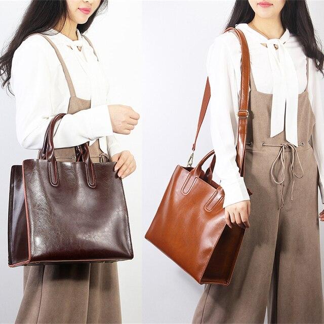 Burminsa Brand Real Leather Handbags Ladies Genuine Leather Tote Hand Bags Female Designer Shopper Shoulder Bags For Women 2019 2