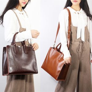 Image 3 - Burminsa Bolsos de piel auténtica suave para mujer, bolso grande A4 de gran capacidad, bolsos de trabajo Vintage, bolsos de hombro tipo bandolera 2020