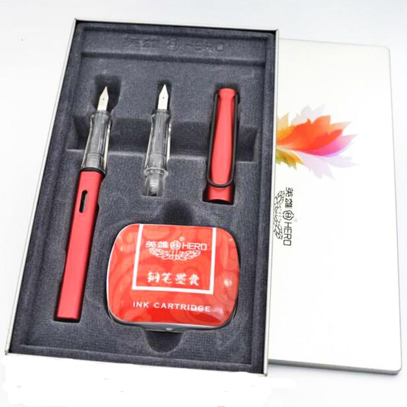 High Quality HERO Fountain Pen 0.38mm+0.5mm Nip Calligraphy Correct Writing Posture Luxury Ink Pen Gift Set Escolar Etui Office italic nib art fountain pen arabic calligraphy black pen line width 1 1mm to 3 0mm