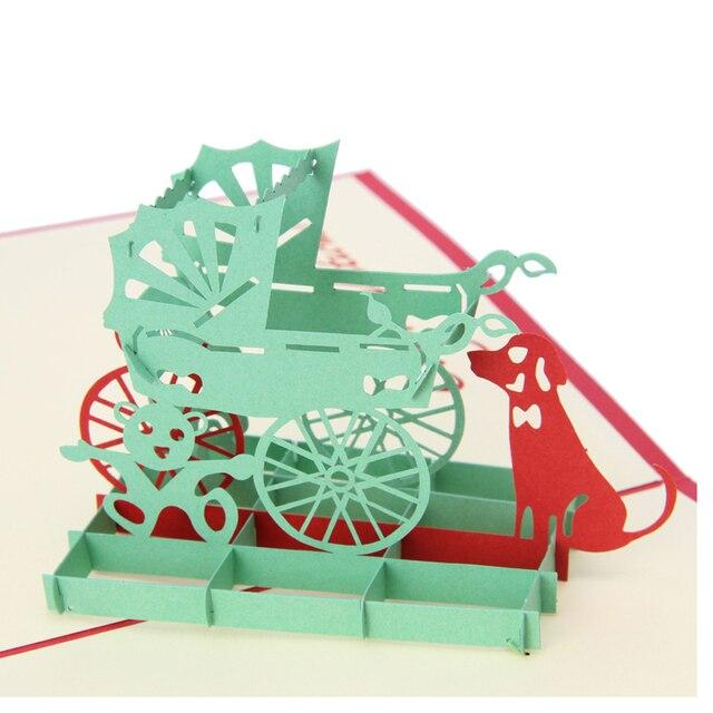 Molto Vintage 3D Pop Up Carta Origami Taglio Laser Biglietti di Auguri  XE32