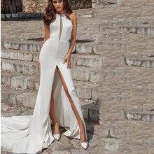 Lorie Wedding Dresses Mermaid Style 2019 Side Split Sleeveless Bride Vestido de novia White  Floor Length Gown
