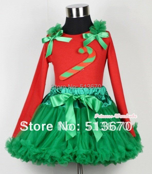 Xmas Kelly Green Pettiskirt with Christmas Stick Print Red Long Sleeves Top with Kelly Green Ruffles & Kelly Green Bow MAMB09 my 1st christmas rwg lighting red top xmas dot waist girl pettiskirt set 1 8year