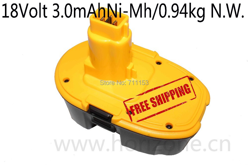 Free Shipping Tool battery for  DeWALT 18V 3.0Ah Ni-Mh DC9096 DE9039 DE9095 DE9096 DE9098 power tool battery power tool battery chargers for hitachi 7 2v 18v ni cd ni mh and li ion battery including external adaptor as power supply