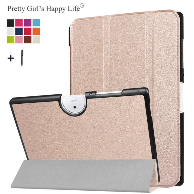 For ACER Iconia One 10(B3-A40) 10 inch Tablet Case for Acer Iconia One 10 B3-A40 Flip Cover 3 Fold Leather Fundas Shell+Stylus