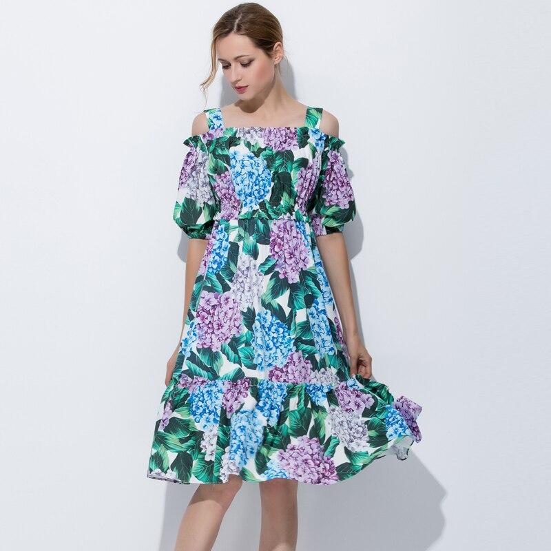 Date 2017 haute qualité designer mode piste été femmes robe vert imprimé hors de l'épaule Slash cou tenue décontractée