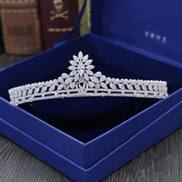 Full Zircon Leaf Tiara Copper Zircon Tiaras Micro Pave CZ Bride Crown Wedding Hair Jewelry Diadem Mariage Bijoux Coroa WIGO1041