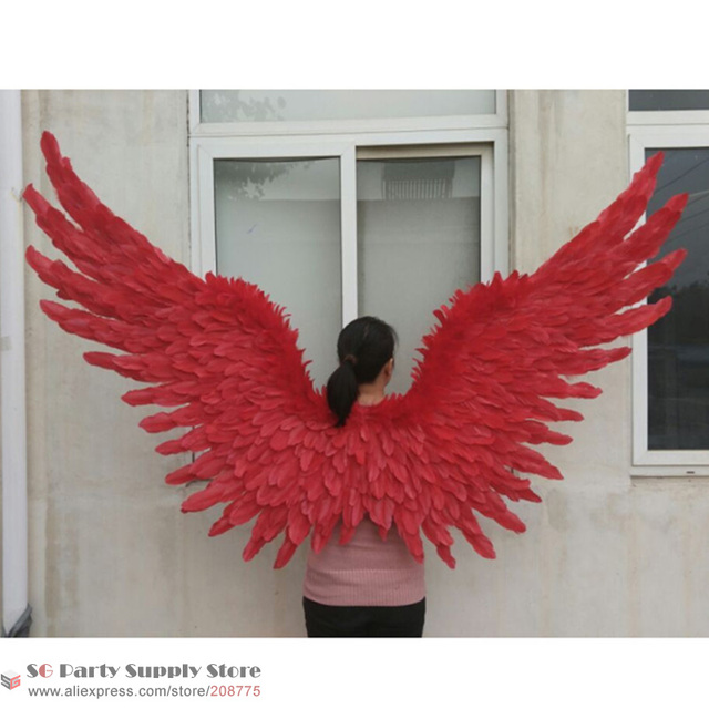 Cosplay Costume High Quality S Red Angel Wings Wedding Bar Decorations Photography Props Pure Handmade