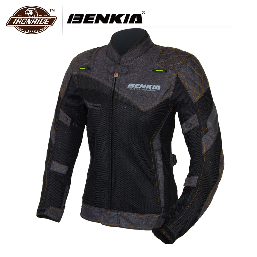 BENKIA Women's Motorcycle Racing Suit Spring Summer Motocross Jacket Breathable Mesh Riding Clothes Ropa Moto Jackets