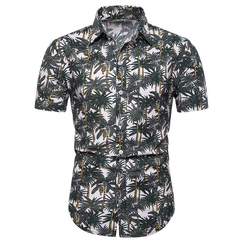 M-5XL Men Hawaiian Short Sleeve Shirt Summer Floral Printed Beach Sea Shirt Vintage Printing 100% Cotton linen Breathable Blusas(China)
