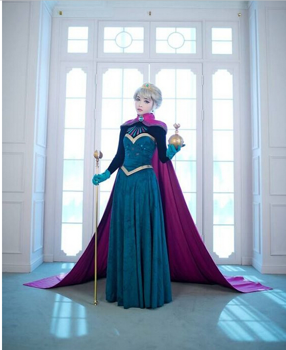 2014 Costume Adult Elsa Cosplay Elsa The Snow Queen Coronation Outfit Halloween Costume For Women Fantasy Dress  Free Crown