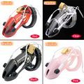 New Arrival 4 Colors Clear/Black/Red Pink Electro Chastity Device  Standard /Small Cock Cage Belt Penis Lock  Sex Toy CD053CD054