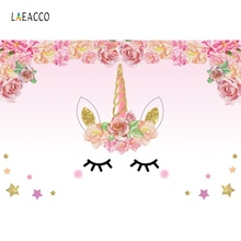 Laeacco Gold Unicorn Birthday Party Pink Flowers Star Family Shoot Poster Baby Photography Backdrops Photographic Backgrounds