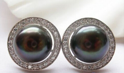 Mlle charme Jew00004 magnifique 925 argent 12 mm noir perles d'eau douce mosaïque zircon boucle d'oreille