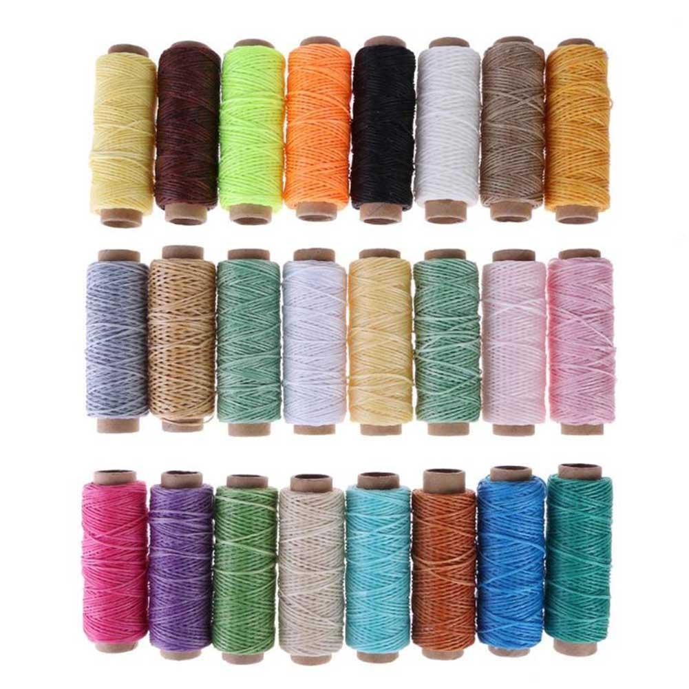 24pcs/set 50m Leather Sewing Wax Thread Hand Stitching Cord Craft DIY Tools Knitting Dyeing Craft Flat Waxed Line Accessories