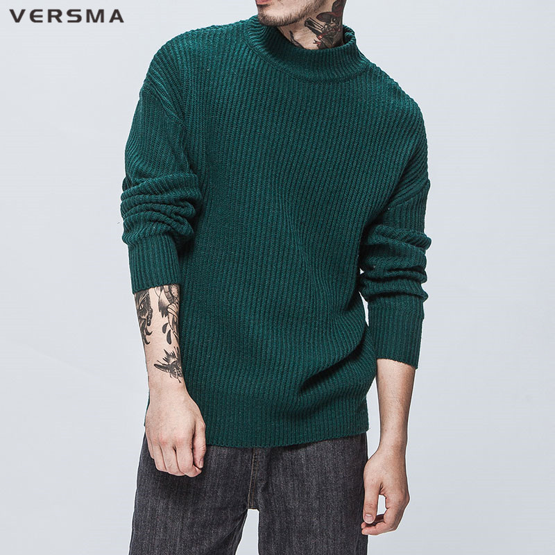 VERSMA 2018 Spring Korean Harajuku Oversized Funny Christmas Sweater Men  Pullover Hip Hop Solid Striped Long Sleeve Sweaters Men-in Pullovers from  Men s ... a9aca7da8