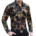 New arrival 2016 Autumn and Winter fashion slim long sleeve shirt Personalized dragon velvet printing high-end men shirt M-XXXL
