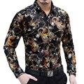 Nova chegada 2016 Outono e Inverno de forma magro camisa de manga longa dragão Personalizado impressão de veludo high-end dos homens da camisa M-XXXL
