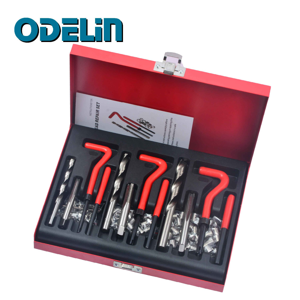 88Pc Thread Repair Kit Set Rethread M6 M8 M10 Damaged Thread Garage Tool