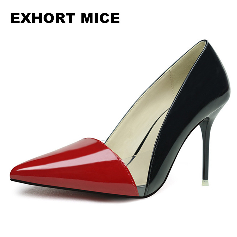 2017 Women Pumps Sexy Gold Silver High Heels Shoes Fashion Pointed Toe Wedding Shallow mouth pointed transparent color 2016 luxury brand red bottom high heels shoes women sexy pointed toe rivets pumps silver gold wedding shoes