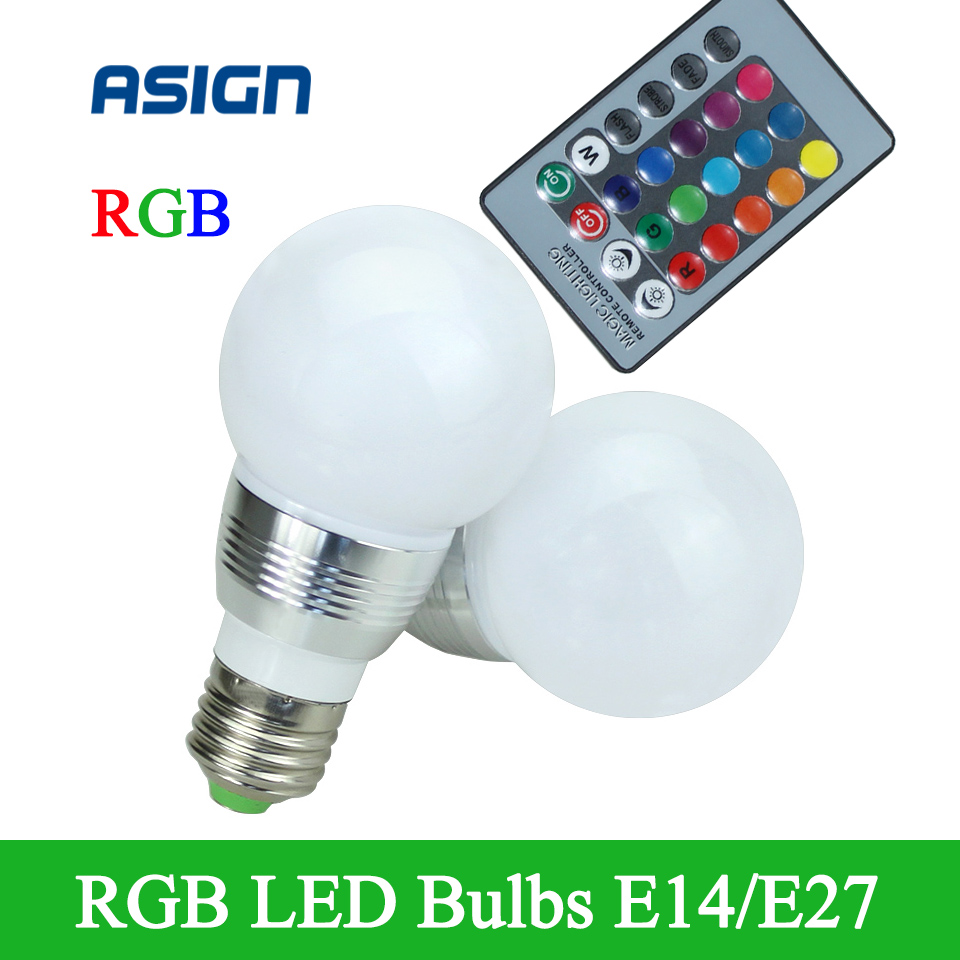 2016 New Led Rgb Bulb 5w E27 E14 Led Rgb Light With Ir Remote Controller Lampara Led Lamp In Led