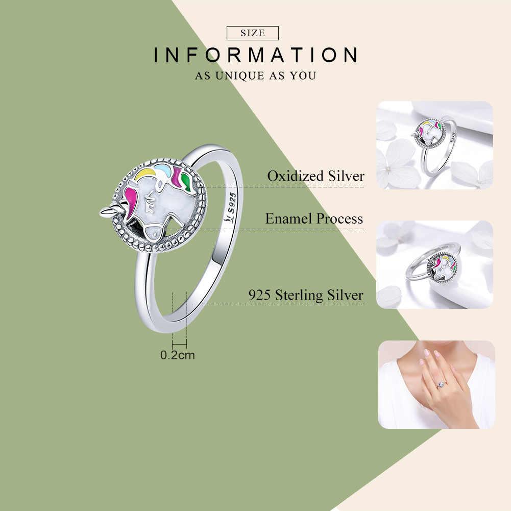 WOSTU 2019 Новое поступление 925 стерлингового серебра Прекрасные радужные волосы конский кольца для женщин Серебряный Свадебный модный подарок для ювелирных изделий DXR388
