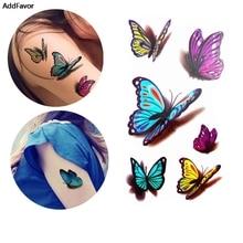 AddFavor 5PCS 3D Butterfly Waterproof Body Art Temporary Tattoo Sticker Body Fake Tattoo Art Fashion Fake Tattoos Tips