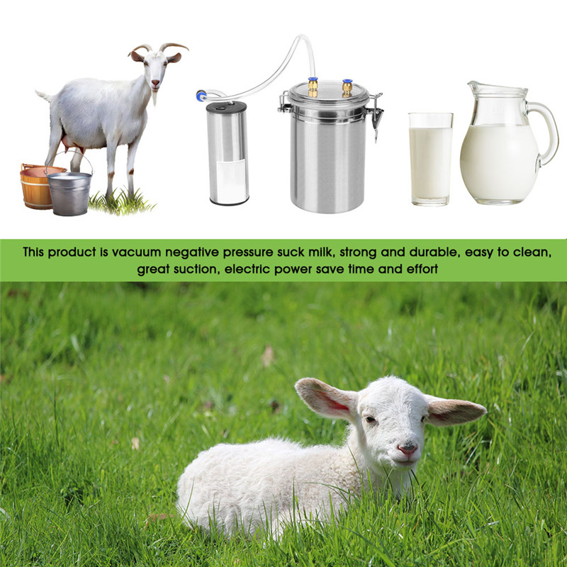 for Cow 2L Electric Milking Machine Portable Stainless Steel Cattle Cow Milking Machine Vacuum Sheep Goat Milker for Home Small-scalefarm