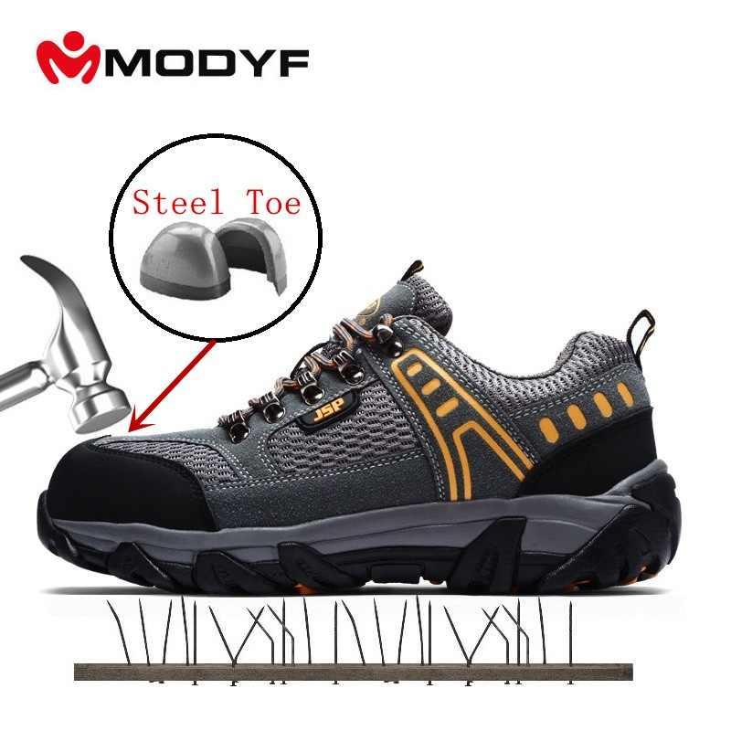 MODYF erkek Çelik Ayak Iş Güvenliği Ayakkabıları Rahat Nefes Açık Ayakkabı Delinme Geçirmez Çizmeler Rahat Endüstriyel Botlar