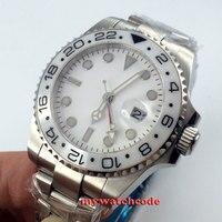 43mm bliger branco dial gmt cerâmica moldura de vidro safira relógio automático dos homens 480