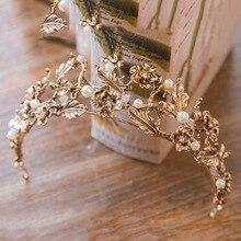 Barroco vintage oro perla hoja nupcial Tiara cristal corona diadema tiara de enredadera accesorios para el cabello de boda novia diadema