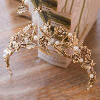 Vintage Baroque Gold Pearl Leaf Bridal Tiara Crystal Crown Hairband Headpiece Vine Tiara Wedding Hair Accessories Bride Headband