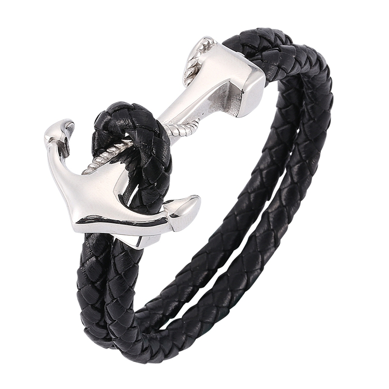 Punk Male Jewelry Stainless Steel Anchor Bracelet Men Black Braided Leather Rope Bracelets Fashion Charm Wrap Bracelets PW767 Браслет