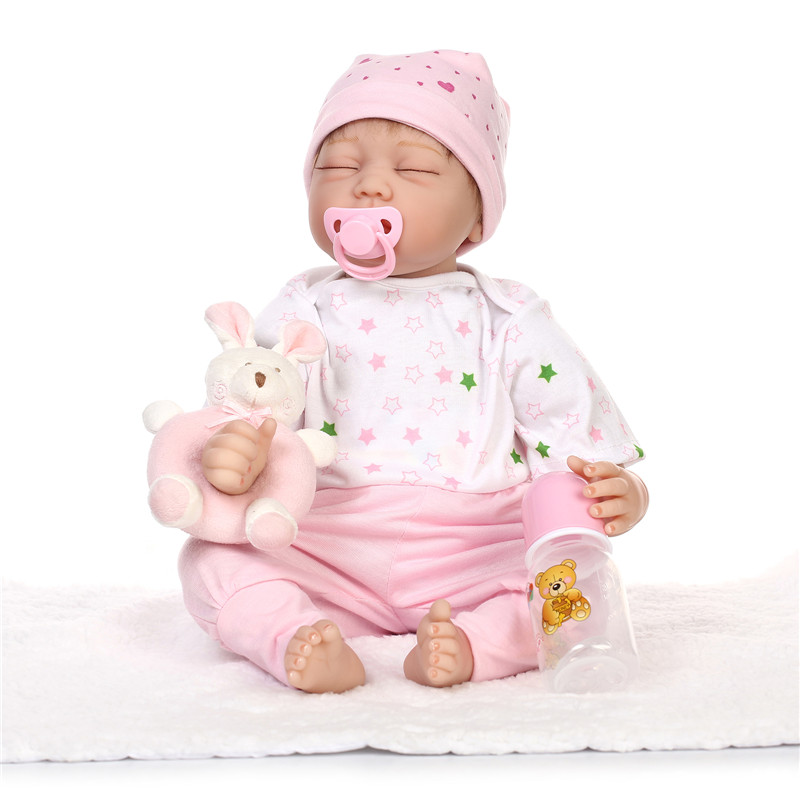 lifelike Silicone reborn baby dolls with rabbit newborn babies accompany sleeping doll Christmas birthday gift brinquedos toy silicone reborn baby doll toy lifelike reborn baby dolls children birthday christmas gift toys for girls brinquedos with swaddle
