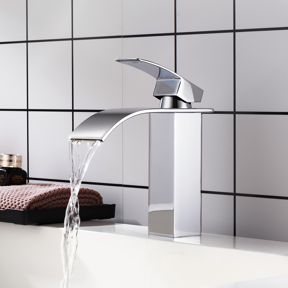 Waterfall Bathroom Vanity Sink Faucet Single Lever Chrome Brass Hot and cold Basin Washing Mixer Taps Torneira