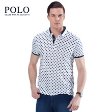 Royal Queen's Polo Team 2017 new summer youth lapel men's fashion business men lapel POLO shirt men male